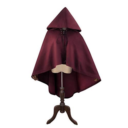 HLGQ Mantello da Donna in Stile Gotico, Trench di personalità Rosso Vino Steampunk, Materiale Scamosciato, Adatto per Mascherata, Giochi di Ruolo, Abito di Halloween e così Via.