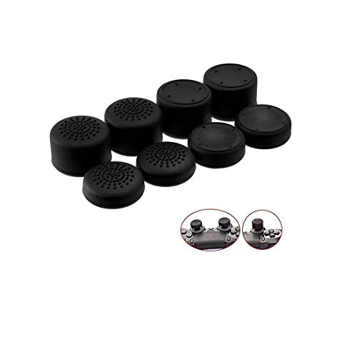 Kakooze Pack Of 8 Pcs Analog Controller Gamepad Raised Antislip Thumb Stick Grips Joystick Cap Cover For PS4, PS3, Switch Pro, Xbox One, Xbox 360, Wii U, PS2 Controller (Black)