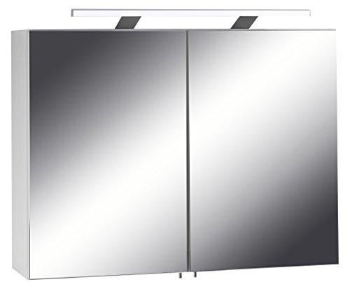 Homexperts Spiegelschrank SLEEK 04 / Eleganter Badezimmerschrank mit Spiegel 80cm / mit Warmton LED-Beleuchtung & Steckdose / Weiß / Soft Close Funktion und integrierte Steckdose / 21x80x60cm (TxBxH)