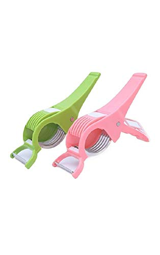Vegetable Cutter (Set of 2) with 5 Blades, 3 in 1 Cutter Peeler