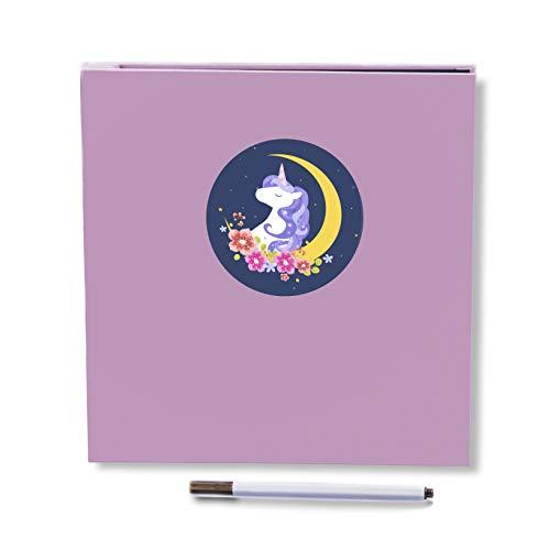 QC life Self Adhesive Photo Album, Magnetic Scrapbook Album 40 Pages Fabric Hardcover Length 11 x Width 10.6 inch with Photo Album Storage Box DIY Accessories Kit (Unicorn)