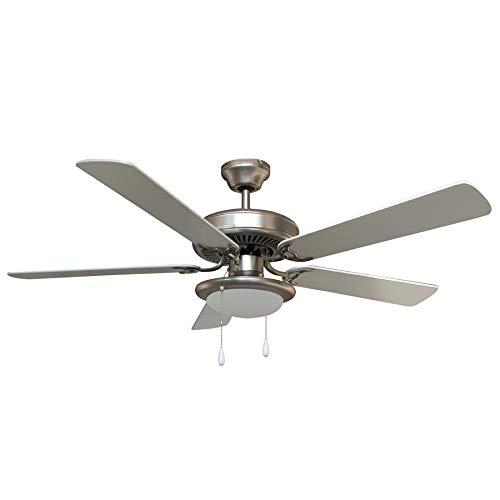 Ventilatore da soffitto con luce Vinco 70915, 5 pale, diametro 132 cm, corpo lampada inox, comando...