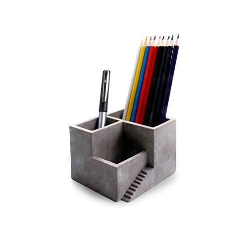 T4U Zement Stifthalter Tisch-Organizer Grau Einzelpackung