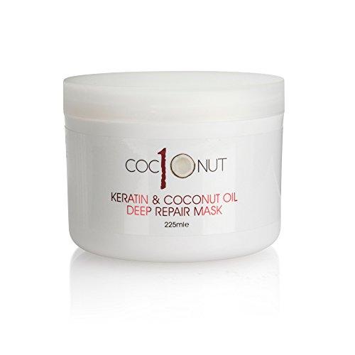 Maschera ristrutturante per capelli a base di cheratina ed olio di cocco ad azione profonda: trattamento nutriente intensivo per capelli secchi/danneggiati - 225 ml