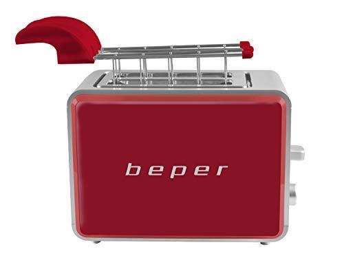 Beper BT.001R Tostapane con Pinze, 750 W, Metal, Red
