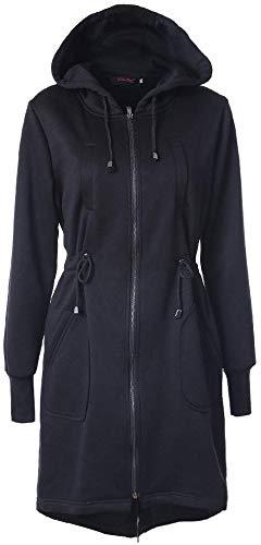AMAZACER Trench Coat di inverno Donne lungo Solid giacca color coulisse in vita con cappuccio Zipper maniche lunghe in cotone cappotto del rivestimento si slaccia più Slim Equipaggiata cappotto di sti