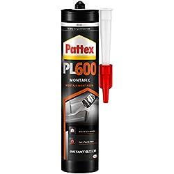 Pattex PL600, adhesivo resistente al agua y a temperaturas extremas, adhesivo de montaje para interiores y exteriores, pegamento extrafuerte, 1 cartucho x 460 g