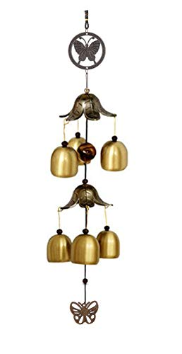 CrazyCrafts Metal Wind Chimes for Home Balcony Garden Positive Energy, Home Decor Hanging Long Brass Bells Gifts for Loved Ones 6 Bells
