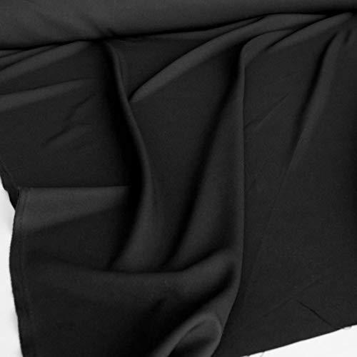 TOLKO Modestoff | Dekostoff universal Stoff zum Nähen und Dekorieren | Blickdicht, knitterarm | Meterware (Schwarz)