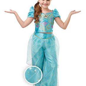 Rubies Disfraz oficial de princesa Disney Jasmine Aladdin con purpurina y brillo para niñas