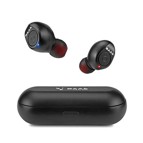 Baas Dots N21 True Wireless in-Ear Earphones with Mic & Charging Case Bluetooth 5.0 Earbuds Dual Connectivity & Auto Pairing Deep Bass & 3D Surround Sound for iOS, Android & Laptop and Tablets