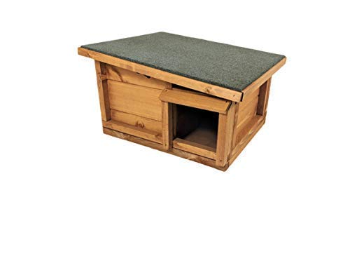 The hedgehog house is modelled as a hibernation shelter and we tend to believe it's the best hedgehog house for hibernation. The wood obviously is a good insulator and the roof is highly protective. A great little house for a hog living inside and pretty darn affordable.