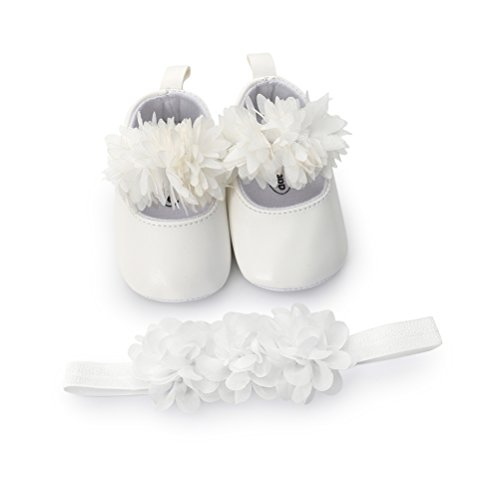 Scarpe Neonata Fiore con Cerchietto Battesimo Set Regalo, Bambina Anti Scivolo Mary Jane Scarpe per Neonata (0-6 Mesi, Bianca)