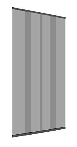 Windhager Insektenschutz Fliegengitter Türvorhang mit Teleskop-Lamellen 120 cm, Anthrazit,  03612