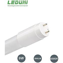 LEDUNI ® Tubo T8 9W LED Cristal 60 CM Conexión de Un Lado Luz Blanca Fría 6000K Equivalente a 80W del halogeno ahorras consumo OPAL 800LM Angulo 300 Grados