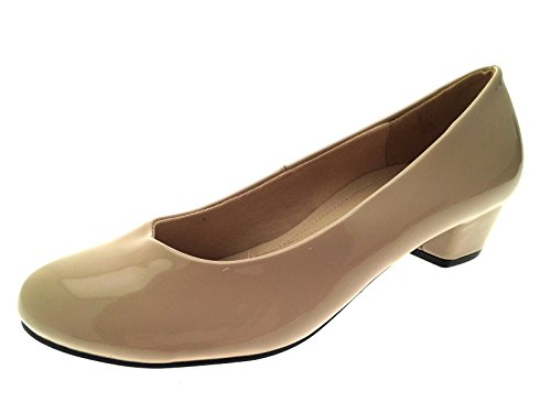 b672977c461 Womens Slip On Low Block Heels Comfort Work Office Loafer Court Shoes ...