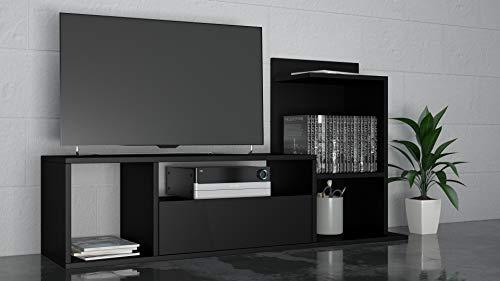 THETA DESIGN by Homemania, Sumatra, Porta TV, Nero, 127 x 43 x 12 cm