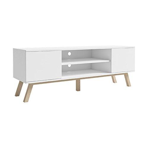 Vero Wood - Mobile Porta TV/Mobiletto Porta TV Moderno (150 cm, Bianco Opaco/Pannelli Frontali...