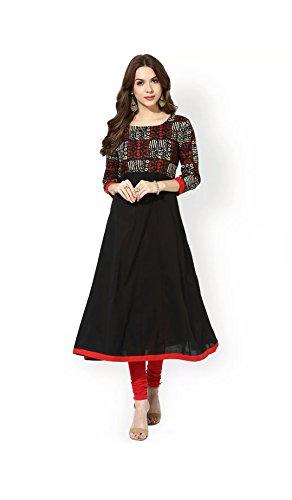 AnjuShree Choice Women's Black Cotton Kurti