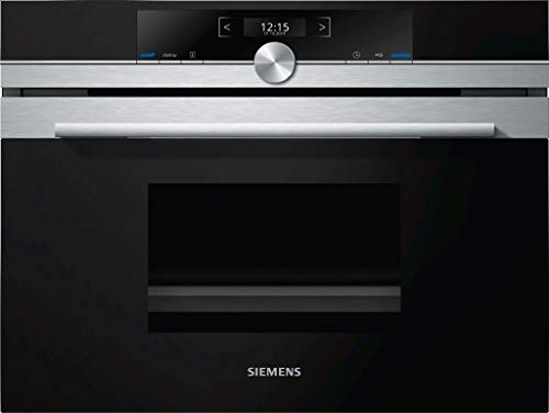Siemens - forno compatto ad incasso a vapore CD634GBS1 finitura nero e acciaio inox da 45 cm