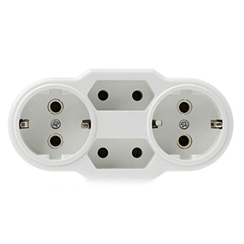 HshDUti Tragbare Steckdose Stecker 1 bis 4-Fach, EU Typ Konvertierung,Netzteil für den Außenbereich, Sichere Haltbare Socket White