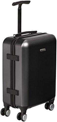AmazonBasics - Trolley a 4 ruote multidirezionali, metallizzato, bagaglio a mano, 55 cm, Nero