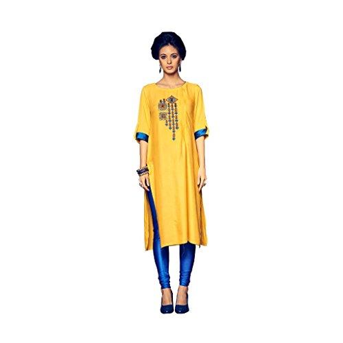 Kurti (SRK RETAIL Women's Cotton Reyon 3/4 sleeve Straight Yellow Color Women Kurti)