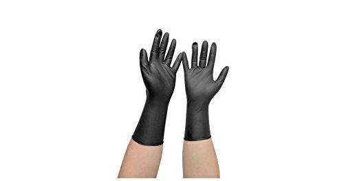Comair - Guanti lunghi in vinile, senza polvere, 100 pezzi, colore: Nero