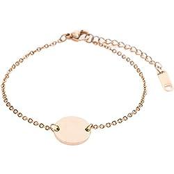 Happiness Boutique Damen Kreis Armband Minimalist   Rosegold Armband Geometrisches Design