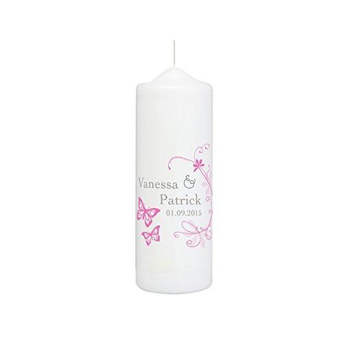 Weddix boda Vela en blanco con ornamento de colores ramas y mariposas–Personalizado con con nombres del recién casados y fecha de boda, finaler revestimiento de cera para ebenmäßige superficie