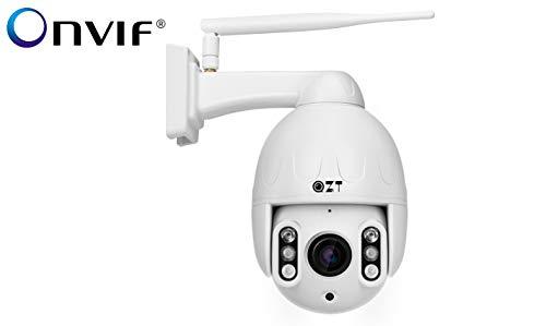 Telecamera HD PTZ ONVIF IP1080P per Esterni WiFi, QZT Telecamera di Sicurezza H.265 Mini Dome con Zoom Senza Fili Pan Tilt 5X, Protocollo Audio e Onvif a due vie, IP66 Resistente Alle Intemperie