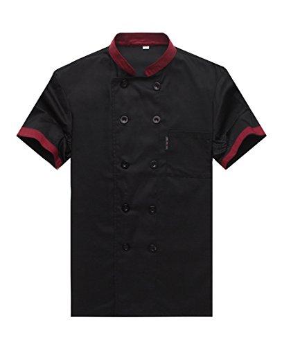 WAIWAIZUI Camisa de Cocinero Cocina Uniforme Manga Corta Negro