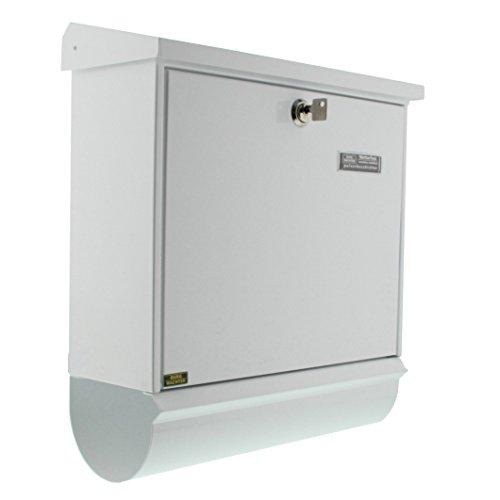 BURG-WÄCHTER, Briefkasten-Set mit integriertem Zeitungsfach, A4 Einwurf-Format, Verzinkter Stahl, Comfort-Set 91300 W, Weiß