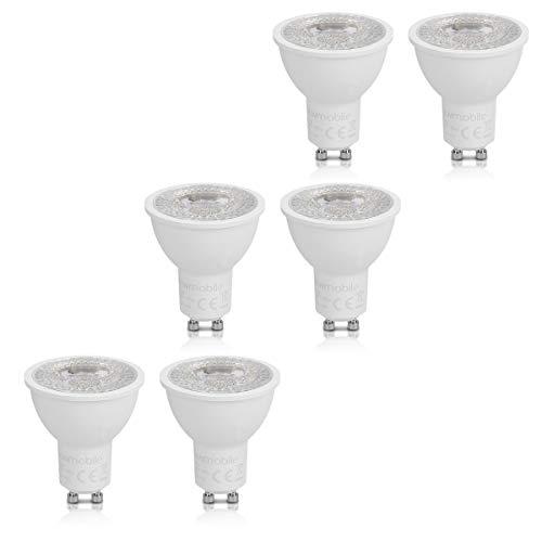kwmobile 6x Lampadine LED GU10 7W - 525Lumen A+ luce bianco calda - Faretto LED attacco gu10 bianco...