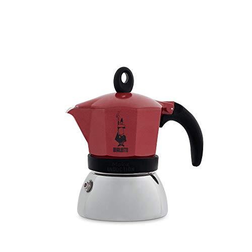 Bialetti Moka Induction Cafetera Italiana Espresso por Inducción, Aluminio, Rojo, 3 Tazas
