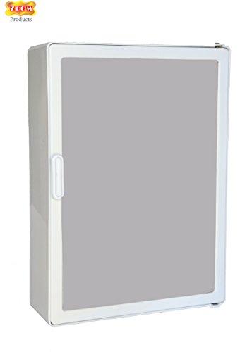 Zoom Single Door Full Bathroom Mirror Plastic Cabinet with Storage Chest/Shelves(White)