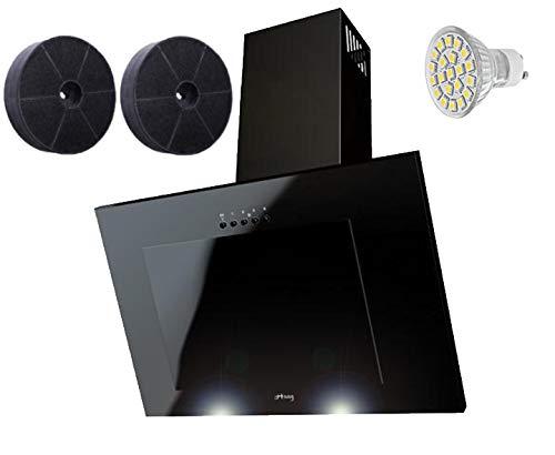 Haag Verticale C Nero + vetro + LED, Filtro a carbone gratis. 60cm cappa aspirante, testa libero,...