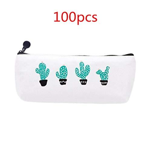 WeiMay 100pz Canvas Pen bag lovely trapezoidale Cartoon cactus astuccio con chiusura a cerniera