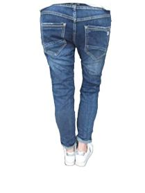 Karostar-Stretch-Baggy-Boyfriend-Jeans-Nieten-Seitenstreifen-L-40-Denim