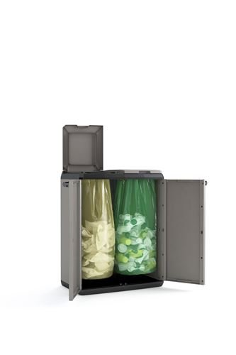 KETER 9736000 Split Cabinet Recycling Basic 68 x 39 x 85 H, Grigio, 68x39x85 cm