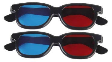 kakooze 2 Pair Adult Plastics Red/Blue 3D Glasses Anaglyph Glasses,Black