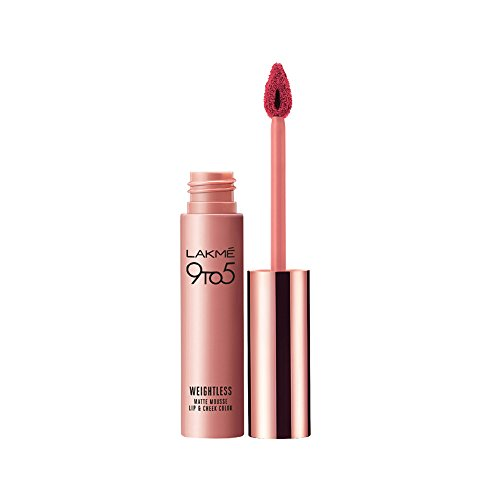 Lakme 9 to 5 Weightless Mousse Lip and Cheek Color, Plum Feather, 9g