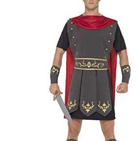 Smiffys-45495XL Disfraz de gladiador romano, con túnica, capa incorporada, brazaletes y e, color negro, XL-Tamaño 46