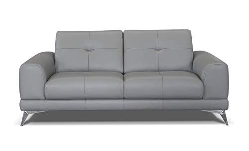 Marchio Amazon -Alkove, divano in pelle modello Aldan, stile moderno, maxi 2 posti, colore grigio...