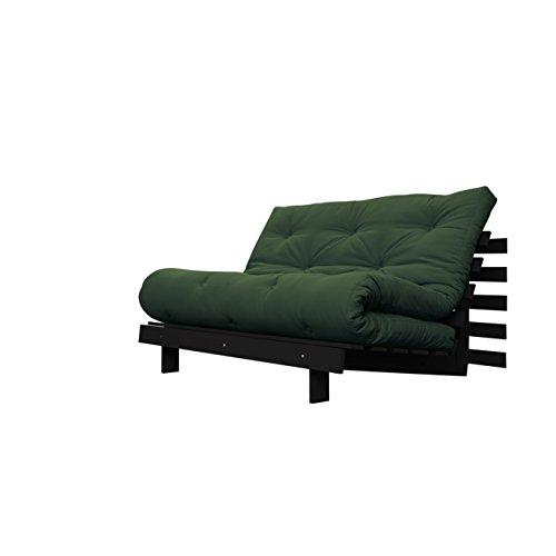Karup ROOTS 140 CM,un divano, un letto con futon verde su legno tinto wengè