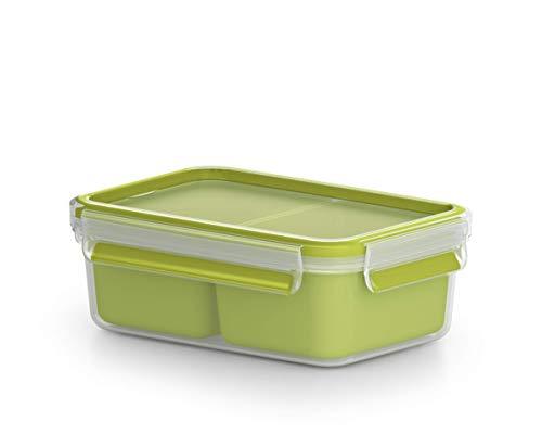 Emsa Lunch und Snackbox, Mit 2 praktischen Einsätzen und Deckel, Volumen: 0,55 Liter, Transparent/Grün, Clip und Go, 518102