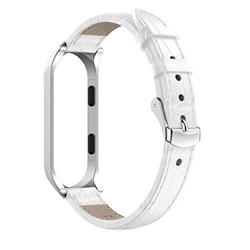 JSxhisxnuid per Xiaomi Mi Band 4 Polso Cinturino di Ricambio per Mi Band 4 Braccialetto, Alta Cinturino in Pelle (Bianca)
