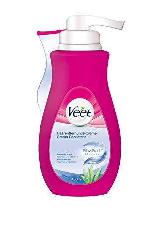 Veet Crema Depilatoria Silk & Fresh Technology Pelli Sensibili, 400ml