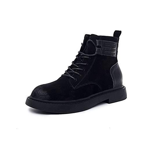 Top Shishang Piumino basso retrò opaco autunno e inverno Martin stivali in pelle stivali Chelsea e ankle boots, nero, 35
