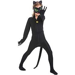 YyiHan Disfraz De Halloween, Disfraz De para Niña Halloween Disfraz Vestido Halloween Cosplay,Cosplay Gato Negro Animal Jugar Onesies Chica Mágica Juego De rol Animado Ropa